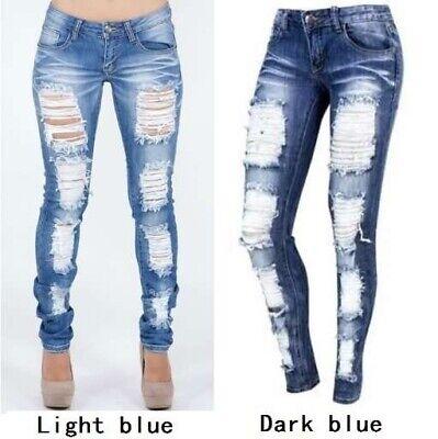 Distressed Jeans Denim Pants Stretch Womens Ripped Skinny Denim Jeans For Female Denim Cloth Womens Jeans