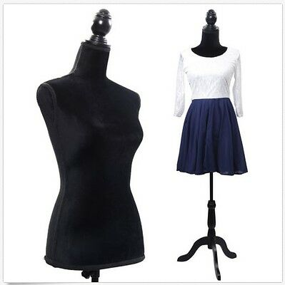 New Black Female Mannequin Torso Dress Form Clothing Display W Tripod Stand Base