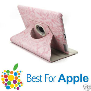 Pink Flower Leather iPad3,iPad2 Smart  Cover Case 360°rotating stand for iPad3