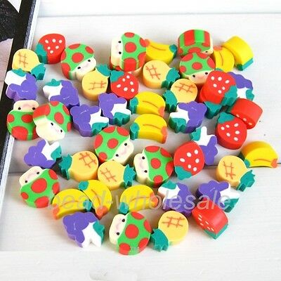 Lots 50 Pcs Mini Fruit Rubber Pencil Eraser Children Stationery Kid Gift Toy