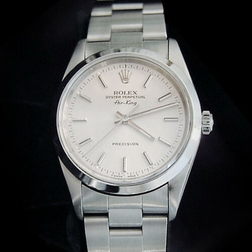 Rolex Air King Mens Stainless Steel Watch Sapphire Crystal Silver Dial 14000