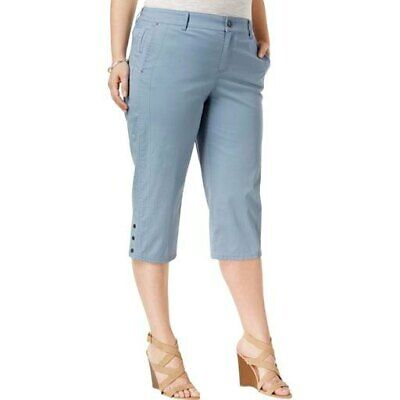 Style & Co Plus Size Snap-Hem Cotton Capri Pants 16W, Blue Fog #2720