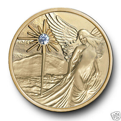 Satin Gold Guardian Angel AA/NA12 Step Program Recovery Coin/Token/Chip