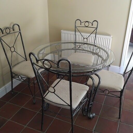 Glass Dining TableFour Chairsin Mistley, Essex - For Sale a glass round table and four chairs. In good condition being replaced with a kitchen island. Glass measures 1,070mm across. Any questions please let me know