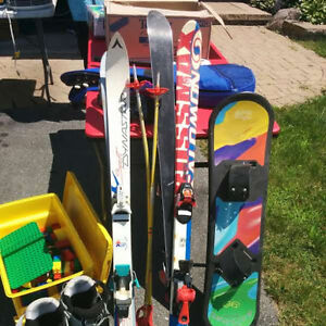 Skis, Boots, Poles, Snowboard