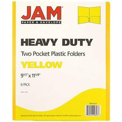 Jam Paper Plastic Heavy Duty Two Pocket Folders Yellow 6pack 383hyed