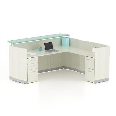Reversible Sea Salt Laminate L Shape Reception Desk Textured Glass Counter