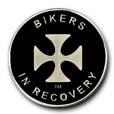 Bikers In Recovery Black and Silver Enamel AA/NA Recovery Coin/Medallion