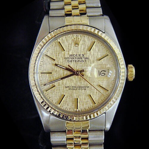 Mens Rolex Two-tone 18k Gold/stainless Steel Datejust Jubilee Gold Linen 16013