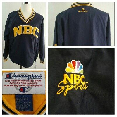 Vintage 90S Champion Nbc Sports Navy Nylon Pullover Windbreaker Jacket Sz Medium