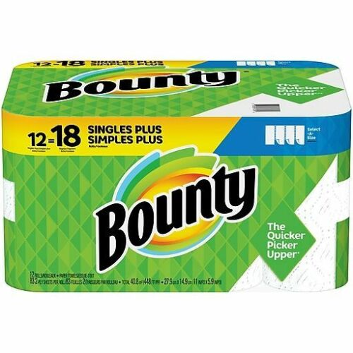 Bounty Select-A-Size Kitchen Rolls Paper Towel, 2-Ply, White, 12 Rolls