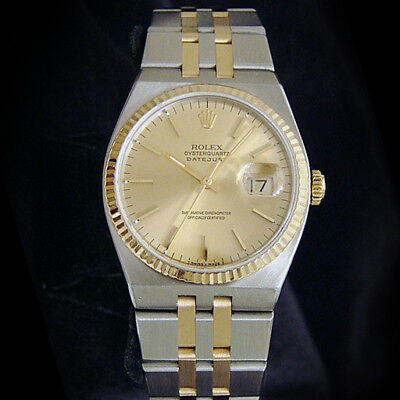 Rolex Oysterquartz Datejust Men 18K Gold & Stainless Steel Watch Champagne 17013