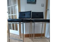 Kitchen Bar Stools x 2 - Black and Brushed Steel