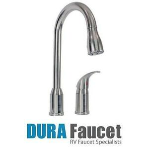 NEW DURA PULL DOWN KITCHEN FAUCET SIDE LEVER SATIN NICKEL FAUCETS FIXTURES SINK SINKS RV RVS RVING KITCHENS 108106923