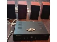 Complete audio system. Full set of amplifier, speakers and cabling