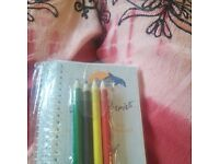 NOTEBOOKS AND SMALL COLOURED PENCILS