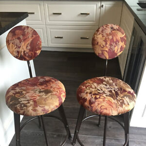 """Two high top bistro chairs, 24"""" at seat level"""