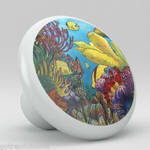 Tropical fish ocean coral ceramic knobs kitchen drawer for Fish drawer pulls