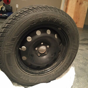 Black Winter Rims and Snow Tires