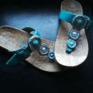 """Vionic sandals """"Adelie"""" beaded sandal in teal, size 7"""