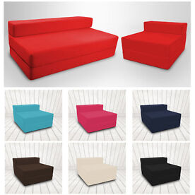 Cotton Twill Z Bed Single OR double Size Fold Out Foam Folding Guest Sofa