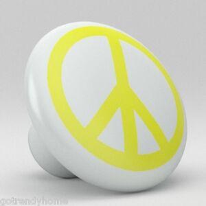 Yellow-Peace-Sign-Ceramic-Knobs-Pulls-Kitchen-Drawer-Cabinet-Vanity-Closet-531