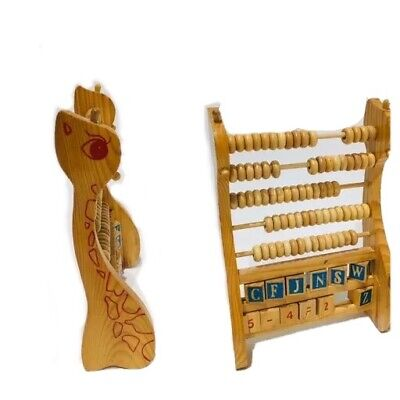 Vintage French Abacus Giraffe Shaped Counting Reading Numbers Letters Toy 1960s