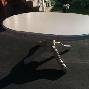 Refinished Oval Wooden Dining Table