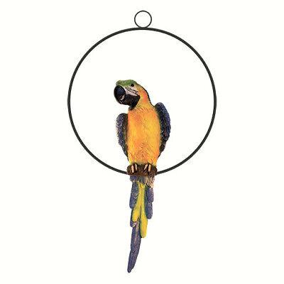 Hanging Parrot Décor Garden Statue Large Ara Sculpture Yard Wildlife Bird Figure
