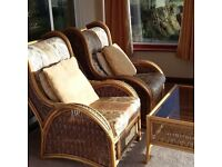 Conservatory furniture, 2 seater settee, 2 armchairs, 2 occasional tables