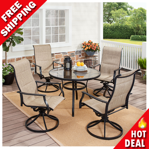 Garden Furniture - 5 Piece Outdoor Patio Dining Set Garden Table Chairs Bistro Furniture Lawn Yard