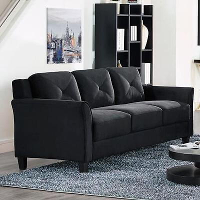 Black Sofa Microfiber Couch Living Room Seating Furniture NE
