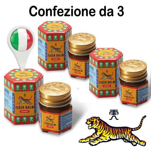 Confezione da 3 Balsamo di TIGRE Rosso ORIGINALE WILD TIGER (NO CINA) in ITALIA