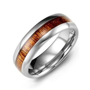 Men's Polished Tungsten Ring with Koa Wood Insert