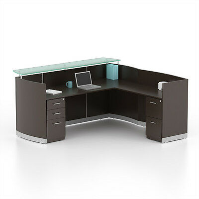 Reversible Mocha Laminate L Shape Reception Desk Textured Glass Counter