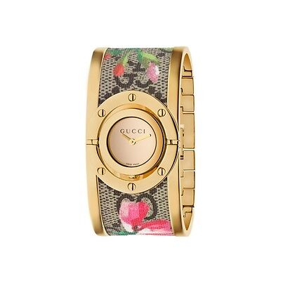 New Gucci Twirl Gold Tone Guccissima Blooms Bangle Women's Watch YA112443