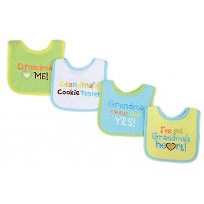 Cute Yellow Grandma Baby Sayings Bibs 4 Pack - Boys/Girls - Luvable Friends