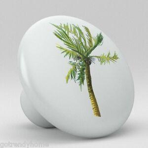 Palm Tree Tropical Ceramic Knobs Pulls Kitchen Drawer