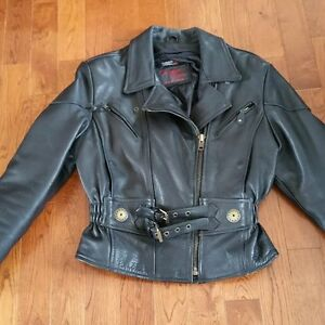 Manteau cuir moto Screaming Eagle avec doublure Med femme