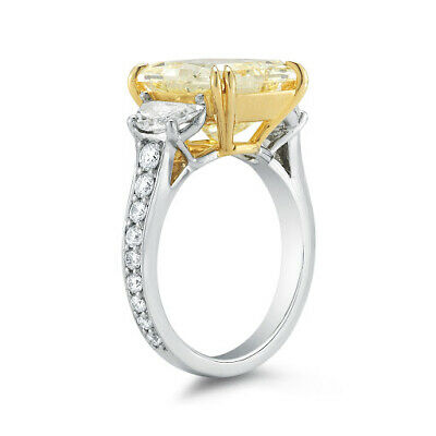 2.10 Ct Radiant Cut Fancy Yellow Diamond Half Moon Engagement Ring SI1 GIA 18K 1