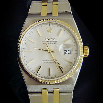 Rolex Oysterquartz Datejust Mens 18K Yellow Gold & Stainless Steel Watch 17013