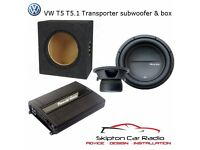 "VW TRANSPORTER T5 CUSTOM FIT UNDER SEAT SUB BOX WITH PHOENIX GOLD 8"" SUBWOOFER"