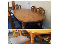 Ducal pine dining table and 6 matching chairs - nice as it or great upcycle opportunity