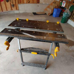 "Fold-down ""Workmate"" workbench with adjustable clamping, vise"