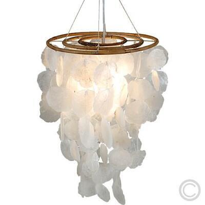 Moderne Mediterrane Kronleuchter (Pendelleuchte Muschel Holz Deckenleuchte Deckenlampe Kronleuchter Leuchte Lampe)