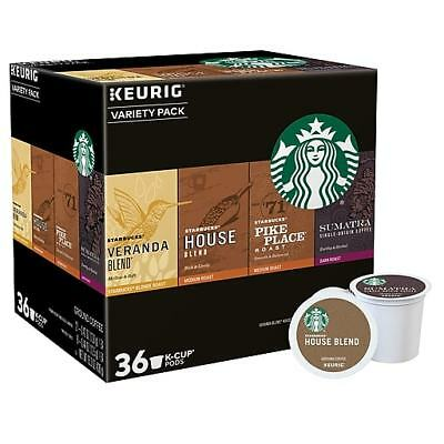 36 Starbucks Variety Pack K Cups Keurig House Blend Pike Place Sumatra Veranda