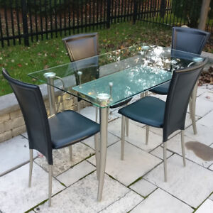 Contemporary Glass Dining Room or Kitchen Table + Chair Set