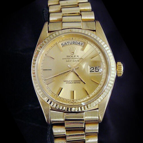 Mens Rolex Day-date President 18k Yellow Gold Watch Champagne Stick Dial 1803