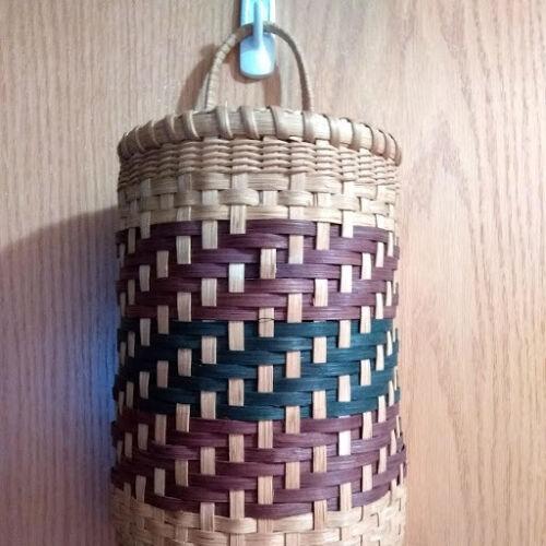 Basket Making (Weaving) Kit creates Plastic Bag Dispenser to hold recycling bags