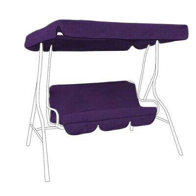 Purple Water Proof 2 Seater Garden Hammock Swing Seat Canopy Cover & Cushion Set